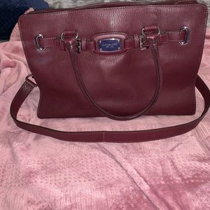 Maroon and silver Michael Kors tote purse!